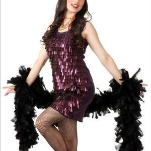 Flapper tear drop sequin plum with wig